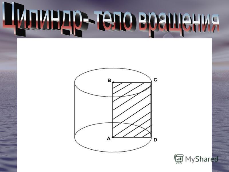 Цилиндр может быть получен вращением прямоугольника вокруг одной из его сторон. На рисунке изображён цилиндр, полученный вращением прямоугольника вокруг стороны АВ. При этом боковая поверхность цилиндра образуется вращением стороны CD, а основания- в