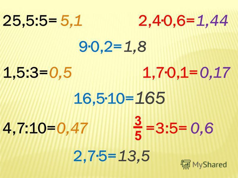 25,5:5=5,1 1,5:3=0,5 4,7:10=0,47 90,2=1,8 16,510= 165 2,75=13,5 2,40,6=1,44 1,70,1=0,17 0,6 =3:5= 5 3