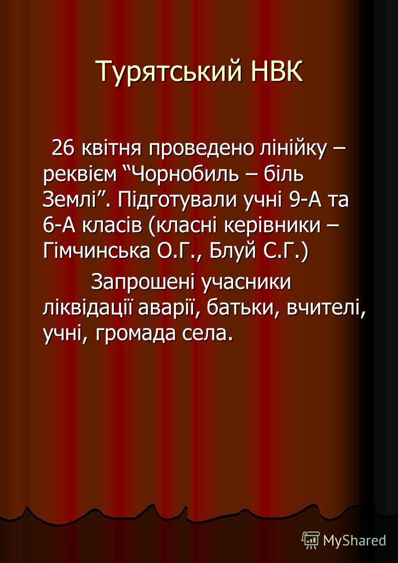 Турятський НВК 26 квітня проведено лінійку – реквієм Чорнобиль – біль Землі. Підготували учні 9-А та 6-А класів (класні керівники – Гімчинська О.Г., Блуй С.Г.) 26 квітня проведено лінійку – реквієм Чорнобиль – біль Землі. Підготували учні 9-А та 6-А