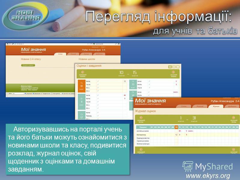 www.ekyrs.org Авторизувавшись на порталі учень та його батьки можуть ознайомитися з новинами школи та класу, подивитися розклад, журнал оцінок, свій щоденник з оцінками та домашнім завданням.