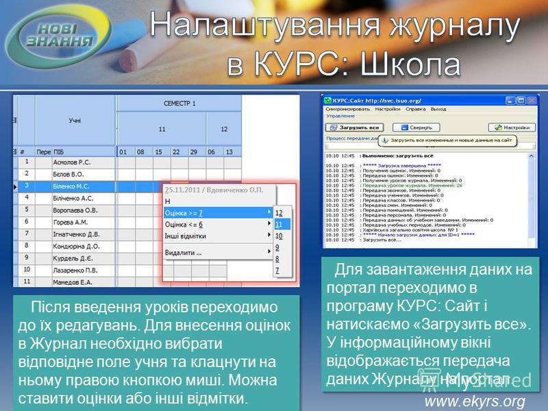 www.ekyrs.org Після введення уроків переходимо до їх редагувань. Для внесення оцінок в Журнал необхідно вибрати відповідне поле учня та клацнути на ньому правою кнопкою миші. Можна ставити оцінки або інші відмітки. Для завантаження даних на портал пе