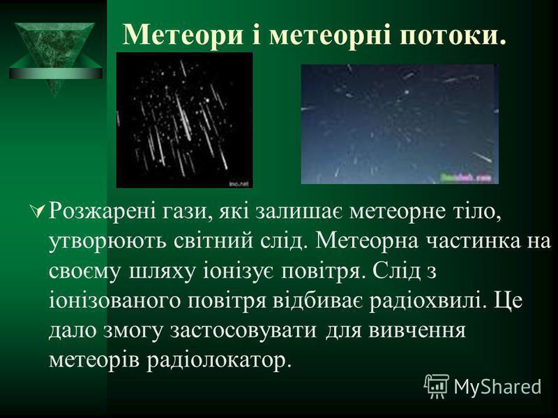 Метеори і метеорні потоки. Розжарені гази, які залишає метеорне тіло, утворюють світний слід. Метеорна частинка на своєму шляху іонізує повітря. Слід з іонізованого повітря відбиває радіохвилі. Це дало змогу застосовувати для вивчення метеорів радіол
