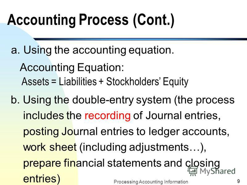 Processing Accounting Information 8 II. Accounting Process and Preparation of Financial Statements n How do accountants prepare financial statements? u Identify, measure and record business transactions for business entities
