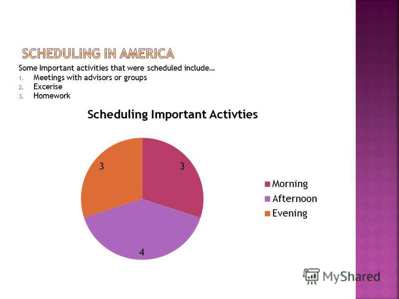 Some Important activities that were scheduled include… 1. Meetings with advisors or groups 2. Excerise 3. Homework