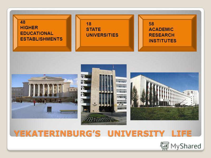 YEKATERINBURGS UNIVERSITY LIFE 48 HIGHER EDUCATIONAL ESTABLISHMENTS 18 STATE UNIVERSITIES 58 ACADEMIC RESEARCH INSTITUTES