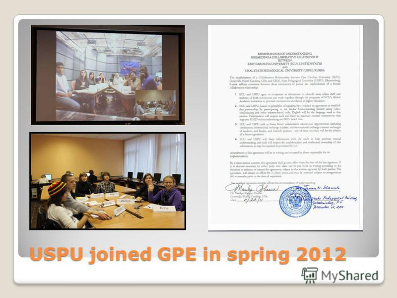 USPU joined GPE in spring 2012