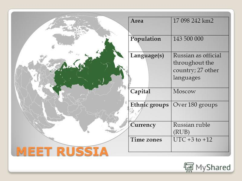 MEET RUSSIA Area 17 098 242 km2 Population 143 500 000 Language(s) Russian as official throughout the country; 27 other languages Capital Moscow Ethnic groups Over 180 groups Currency Russian ruble (RUB) Time zones UTC +3 to +12