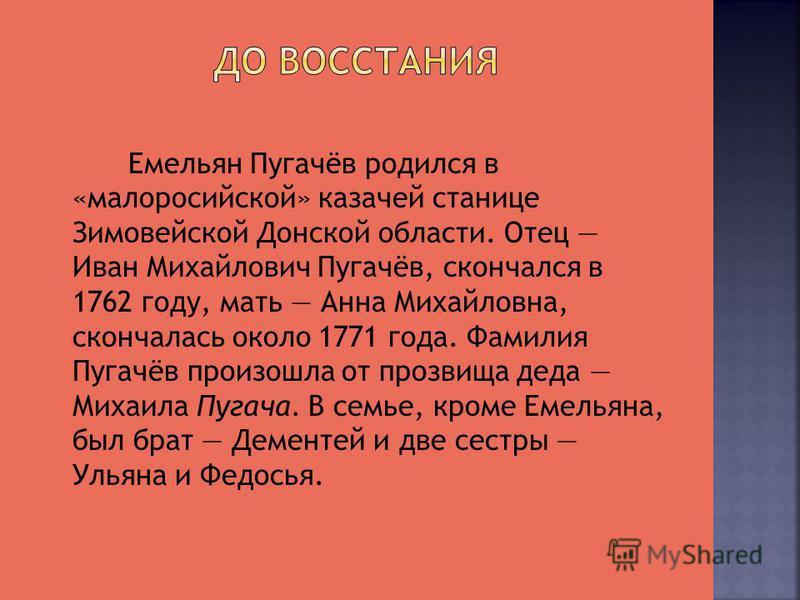 Емельян Пугачёв родился в «малороссийской» казачьей станице Зимовейской Донской области. Отец Иван Михайлович Пугачёв, скончался в 1762 году, мать Анна Михайловна, скончалась около 1771 года. Фамилия Пугачёв произошла от прозвища деда Михаила Пугача.