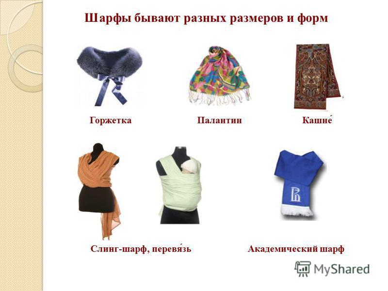 Шарфы бывают разных размеров и форм Горжетка Палантин Кашне́ Слинг-шарф, первая́зь Академический шарф