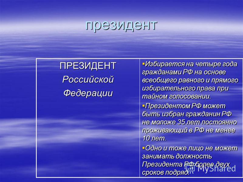 президент ПРЕЗИДЕНТРоссийской Федерации Избирается на четыре года гражданами РФ на основе всеобщего равного и прямого избирательного права при тайном голосовании. Избирается на четыре года гражданами РФ на основе всеобщего равного и прямого избирател
