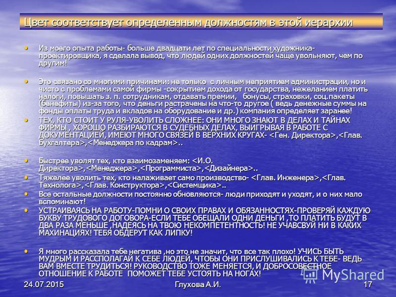 24.07.2015Глухова А.И.16 СТРУКТУРА ПОДРАЗДЕЛЕНИЙ. ЧАСТЬ 1. СТРУКТУРА ПОДРАЗДЕЛЕНИЙ. ЧАСТЬ 1. Это-схема Это-схемасвязейструктур на примере отдельныхдолжностей ГЕН.ДИРЕКТОР ИЛИ ЧЛЕНЫ АССОЦИАЦИИ.. ГЕН.ДИРЕКТОР ИЛИ ЧЛЕНЫ АССОЦИАЦИИ.. И.О. ДИРЕКТОРА, ДИРЕ