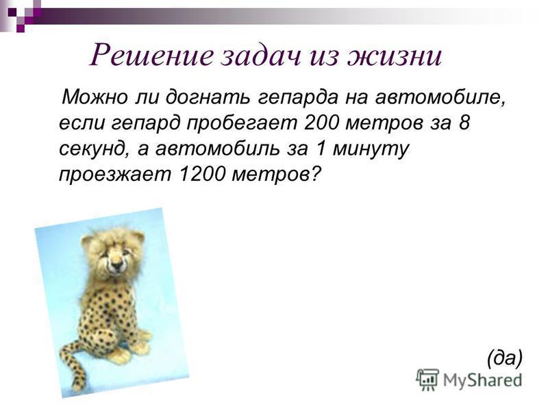 Решение задач из жизни Можно ли догнать гепарда на автомобиле, если гепард пробегает 200 метров за 8 секунд, а автомобиль за 1 минуту проезжает 1200 метров? (да)