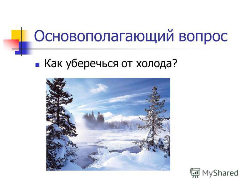 Основополагающий вопрос Как уберечься от холода?