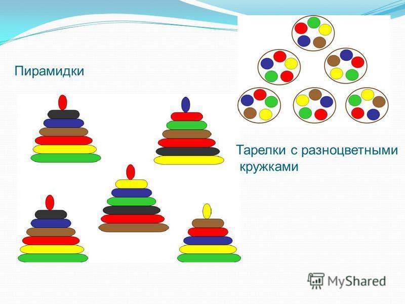 Пирамидки Тарелки с разноцветными кружками