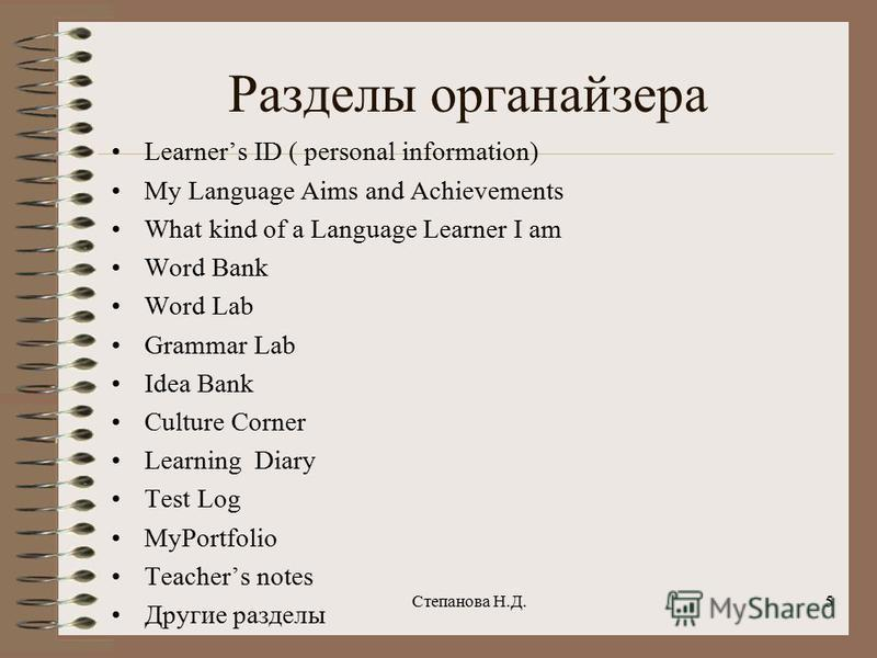 Разделы органайзера Learners ID ( personal information) My Language Aims and Achievements What kind of a Language Learner I am Word Bank Word Lab Grammar Lab Idea Bank Culture Corner Learning Diary Test Log MyPortfolio Teachers notes Другие разделы С