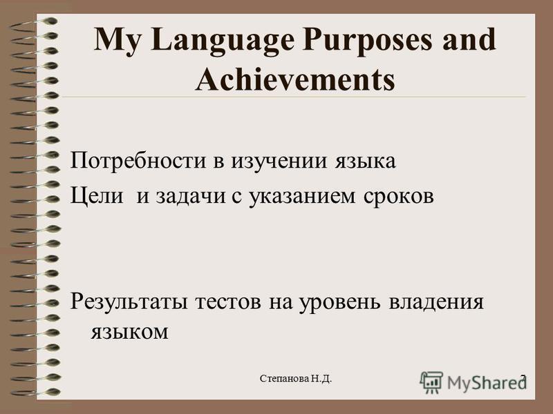 My Language Purposes and Achievements Потребности в изучении языка Цели и задачи с указанием сроков Результаты тестов на уровень владения языком 7Степанова Н.Д.