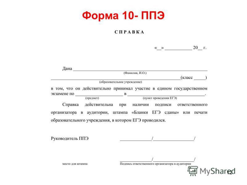 12 Форма 10- ППЭ