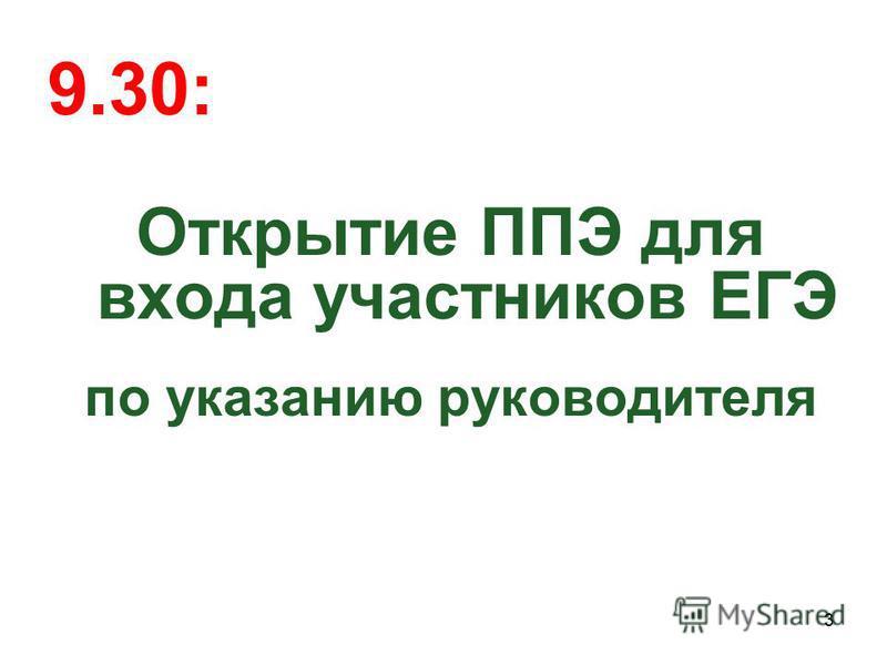 9.30: Открытие ППЭ для входа участников ЕГЭ по указанию руководителя 3