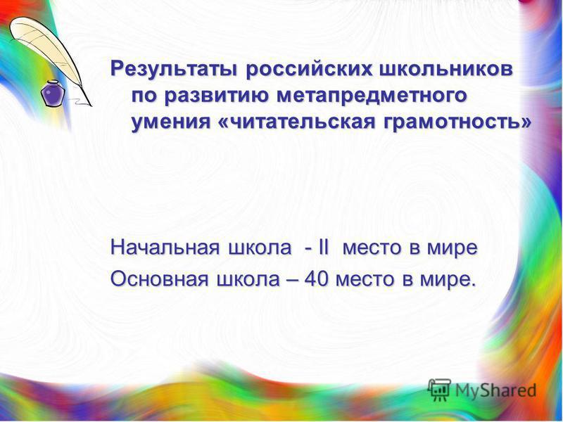 Результаты российских школьников по развитию метапредметного умения «читательская грамотность» Начальная школа - II место в мире Основная школа – 40 место в мире.