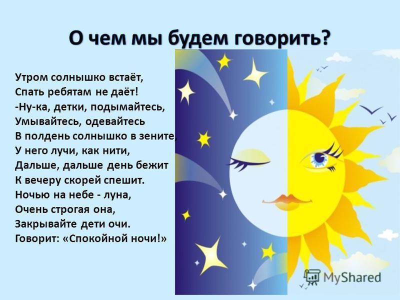 Утром солнышко встаёт, Спать ребятам не даёт! -Ну-ка, детки, подымайтесь, Умывайтесь, одевайтесь В полдень солнышко в зените, У него лучи, как нити, Дальше, дальше день бежит К вечеру скорей спешит. Ночью на небе - луна, Очень строгая она, Закрывайте