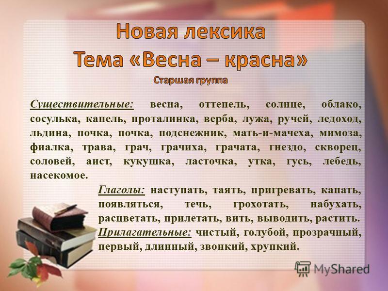 Существительные: весна, оттепель, солнце, облако, сосулька, капель, проталинка, верба, лужа, ручей, ледоход, льдина, почка, почка, подснежник, мать-и-мачеха, мимоза, фиалка, трава, грач, гречиха, грачата, гнездо, скворец, соловей, аист, кукушка, ласт