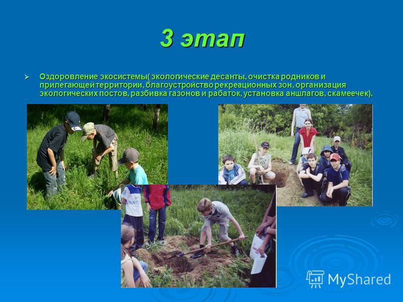 3 этап Оздоровление экосистемы( экологические десанты, очистка родников и прилегающей территории, благоустройство рекреационных зон, организация экологических постов, разбивка газонов и рабаток, установка аншлагов, скамеечек). Оздоровление экосистемы
