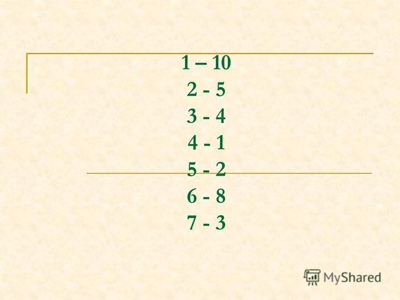 1 – 10 2 - 5 3 - 4 4 - 1 5 - 2 6 - 8 7 - 3