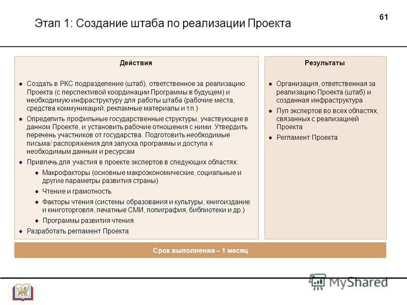 61 Этап 1: Создание штаба по реализации Проекта Действия Создать в РКС подразделение (штаб), ответственное за реализацию Проекта (с перспективой координации Программы в будущем) и необходимую инфраструктуру для работы штаба (рабочие места, средства к