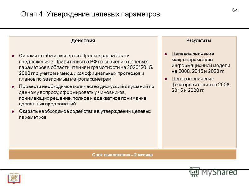 64 Этап 4: Утверждение целевых параметров Действия Силами штаба и экспертов Проекта разработать предложения в Правительство РФ по значению целевых параметров в области чтения и грамотности на 2020/ 2015/ 2008 гг с учетом имеющихся официальных прогноз