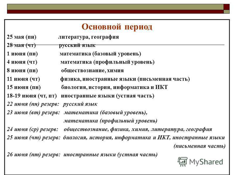 Основной период 25 мая (пн) литература, география 28 мая (чт) русский язык 1 июня (пн) математика (базовый уровень) 4 июня (чт) математика (профильный уровень) 8 июня (пн) обществознание, химия 11 июня (чт) физика, иностранные языки (письменная часть