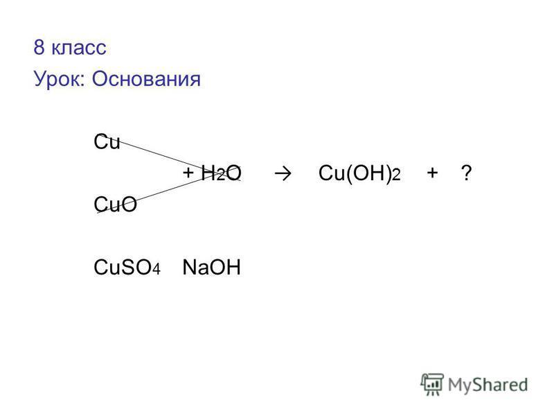 8 класс Урок: Основания Cu + H 2 O Cu(OH) 2 +? CuO CuSO 4 NaOH