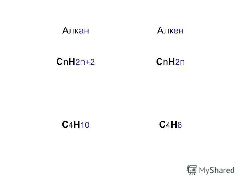 Алкан Алкен СnH 2 n +2 СnH2nСnH2n С 4 H 10 С4H8С4H8