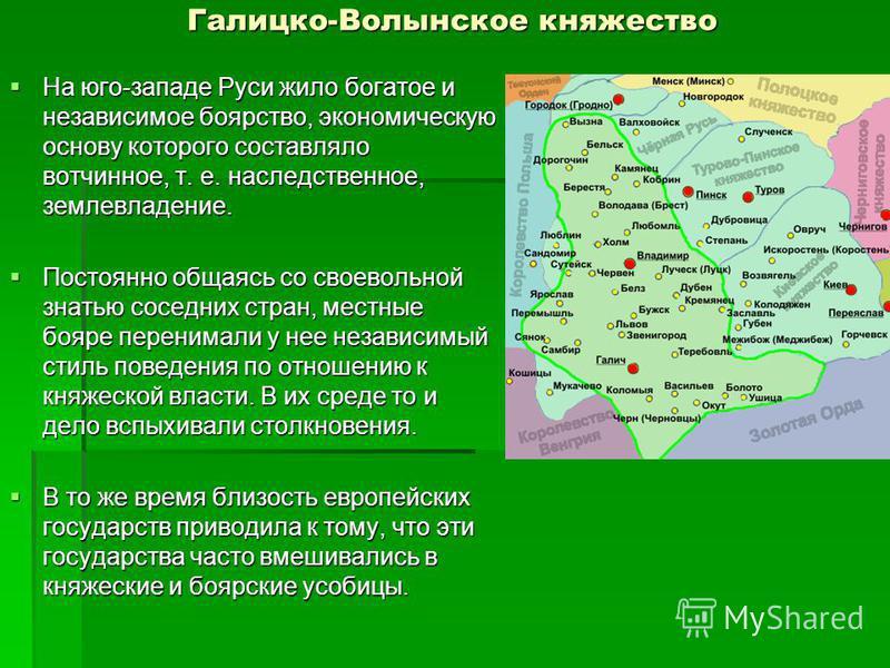Галицко-Волынское княжество На юго-западе Руси жило богатое и независимое боярство, экономическую основу которого составляло вотчинное, т. е. наследственное, землевладение. На юго-западе Руси жило богатое и независимое боярство, экономическую основу