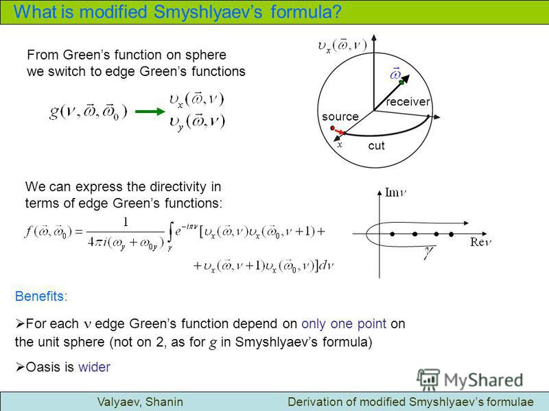 What is modified Smyshlyaevs formula? Valyaev, Shanin Derivation of modified Smyshlyaevs formulae From Greens function on sphere we switch to edge Greens functions We can express the directivity in terms of edge Greens functions: Benefits: For each e