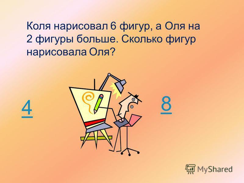 Коля нарисовал 6 фигур, а Оля на 2 фигуры больше. Сколько фигур нарисовала Оля? 4 8