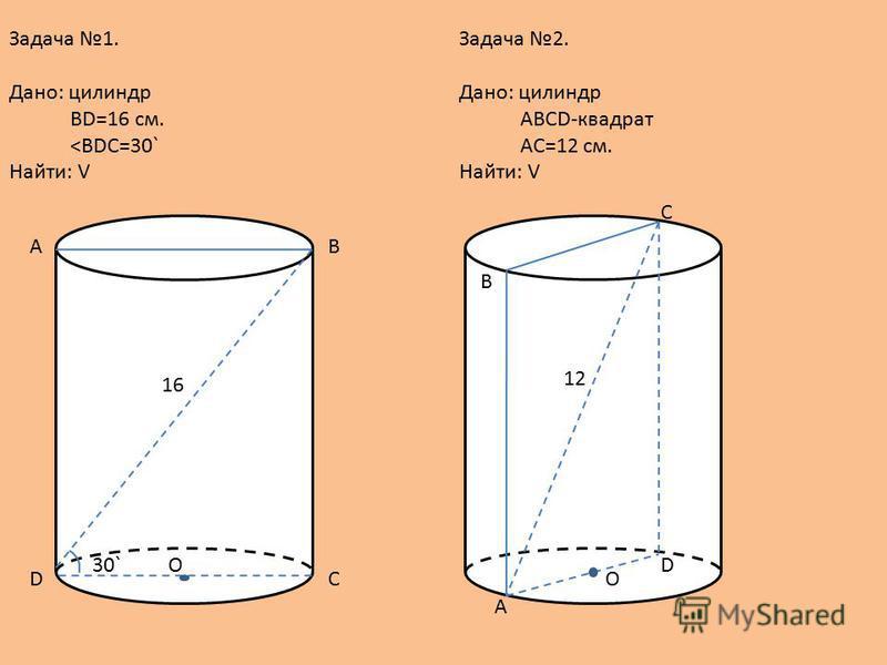 Задача 1. Дано: силиндр BD=16 см. <BDC=30` Найти: V BA CD O30` 16 Задача 2. Дано: силиндр ABCD-квадрат AC=12 см. Найти: V А В С D O 12