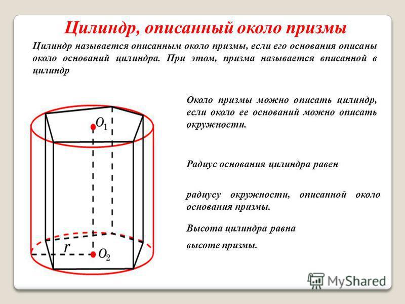 Цилиндр, описанный около призмы Цилиндр называется описанным около призмы, если его основания описаны около оснований цилиндра. При этом, призма называется вписанной в цилиндр Около призмы можно описать цилиндр, если около ее оснований можно описать