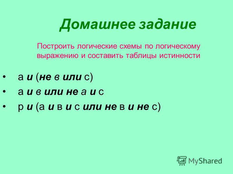 Построить логические схемы по логическому выражению и составить таблицы истинности а и (не в или с) а и в или не а и с р и (а и в и с или не в и не с) Домашнее задание