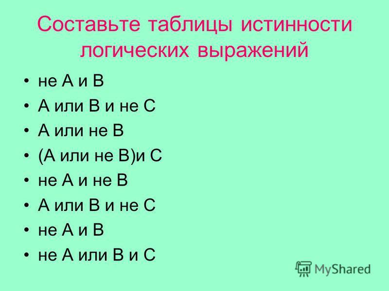 Составьте таблицы истинности логических выражений не А и В А или В и не С А или не В (А или не В)и С не А и не В А или В и не С не А и В не А или В и С
