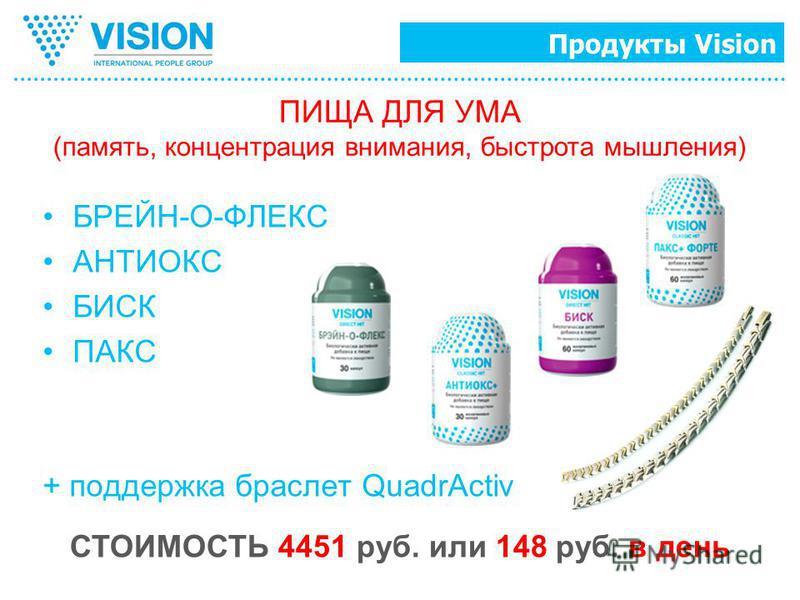 Продукты Vision БРЕЙН-О-ФЛЕКС АНТИОКС БИСК ПАКС + поддержка браслет QuadrActiv ПИЩА ДЛЯ УМА (память, концентрация внимания, быстрота мышления) СТОИМОСТЬ 4451 руб. или 148 руб. в день