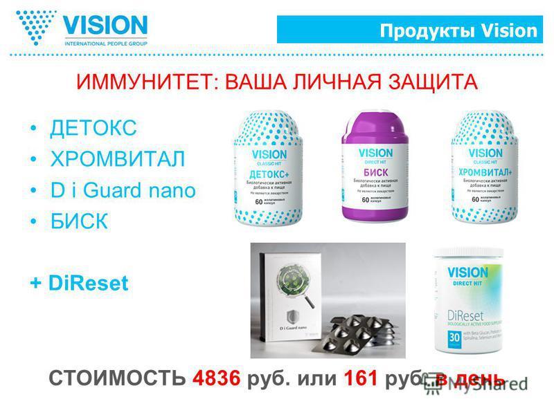 Продукты Vision ДЕТОКС ХРОМВИТАЛ D i Guard nano БИСК + DiReset ИММУНИТЕТ: ВАША ЛИЧНАЯ ЗАЩИТА СТОИМОСТЬ 4836 руб. или 161 руб. в день