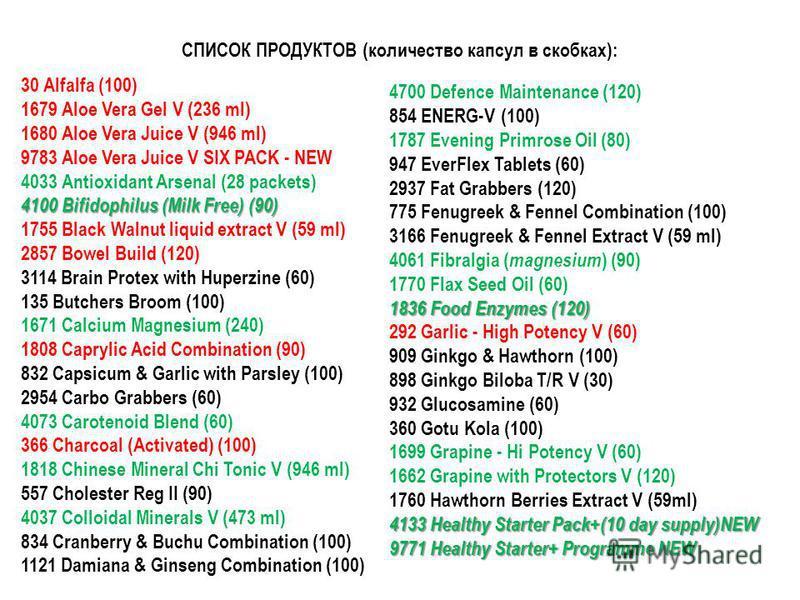 СПИСОК ПРОДУКТОВ (количество капсул в скобках): 30 Alfalfa (100) 1679 Aloe Vera Gel V (236 ml) 1680 Aloe Vera Juice V (946 ml) 9783 Aloe Vera Juice V SIX PACK - NEW 4033 Antioxidant Arsenal (28 packets) 4100 Bifidophilus (Milk Free) (90) 1755 Black W