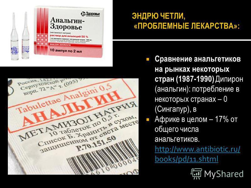 Сравнение анальгетиков на рынках некоторых стран (1987-1990) Дипирон (анальгин): потребление в некоторых странах – 0 (Сингапур), в Африке в целом – 17% от общего числа анальгетиков. http://www.antibiotic.ru/ books/pd/11. shtml http://www.antibiotic.r