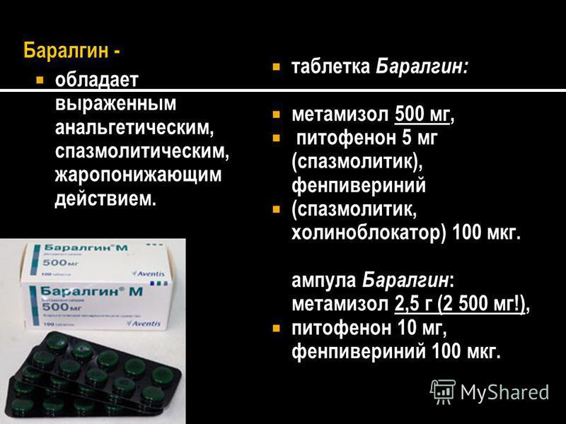 обладает выраженным анальгетическим, спазмолитическим, жаропонижающим действием. таблетка Баралгин: метамизол 500 мг, питофенон 5 мг (спазмолитик), фенпивериний (спазмолитик, холиноблокатор) 100 мкг. ампула Баралгин : метамизол 2,5 г (2 500 мг!), пит