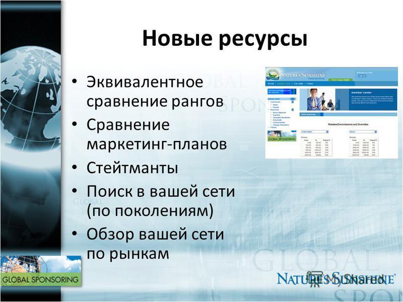 Новые ресурсы Эквивалентное сравнение рангов Сравнение маркетинг-планов Стейтманты Поиск в вашей сети (по поколениям) Обзор вашей сети по рынкам