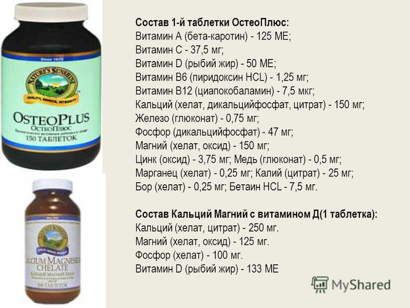 Состав 1-й таблетки Остео Плюс: Витамин А (бета-каротин) - 125 ME; Витамин С - 37,5 мг; Витамин D (рыбий жир) - 50 ME; Витамин В6 (пиридоксин HCL) - 1,25 мг; Витамин В12 (циапокобаламин) - 7,5 мкг; Кальций (хелат, дикальцийфосфат, цитрат) - 150 мг; Ж