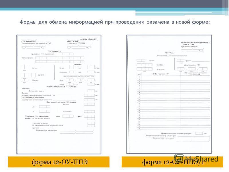 форма 12-ОУ-ППЭ/1 форма 12-ОУ-ППЭ Формы для обмена информацией при проведении экзамена в новой форме: