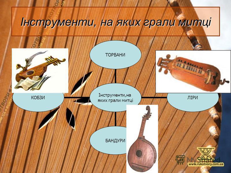 Інструменти, на яких грали митці Інструменти,на яких грали митці ТОРБАНИЛІРИБАНДУРИКОБЗИ