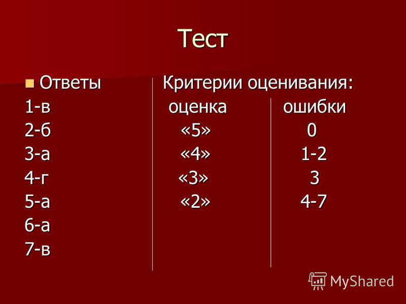 Тест Ответы Критерии оценивания: Ответы Критерии оценивания: 1-в оценка ошибки 2-б «5» 0 3-а «4» 1-2 4-г «3» 3 5-а «2» 4-7 6-а 7-в