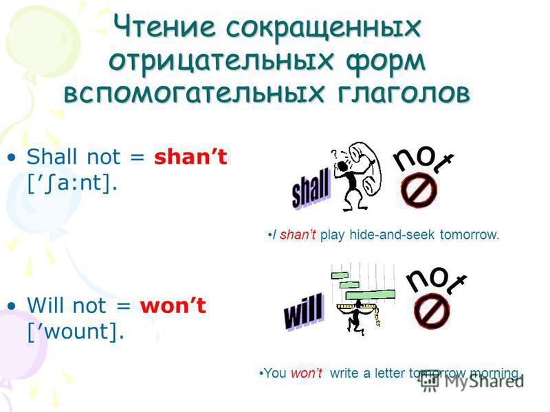 Чтение сокращенных отрицательных форм вспомогательных глаголов Shall not = shant [a:nt]. Will not = wont [wount]. I shant play hide-and-seek tomorrow. You wont write a letter tomorrow morning.